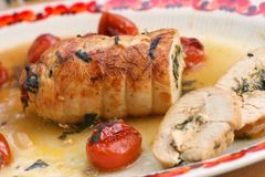 Turkey meat roll. Filled with spinatch, mozarella and grilled onion, served with baked tomatoes Royalty Free Stock Photo