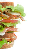 Turkey Meat Sandwich. Tasty Turkey Meat Sandwich with  Cheese, Tomato, Bacon, Marinated  Gherkins and Lettuce on Whole Wheat Bread isolated on white background Royalty Free Stock Photography
