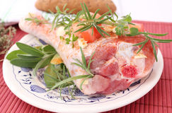 Turkey Meat. Some raw turkey meat with herbs Stock Images