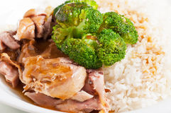 Turkey brocoli rice topping meal Stock Photo