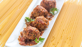 Turkey meatballs with pasta Stock Images