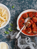 Turkey meatballs in tomato sauce and rigatoni pasta. Delicious lunch Royalty Free Stock Photos