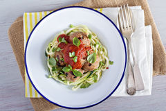 Turkey meatballs with zucchini noodles Stock Photography