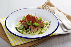 Turkey meatballs with zucchini noodles Stock Photos