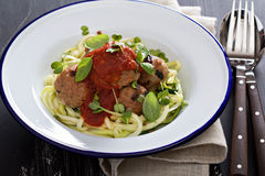 Turkey meatballs with zucchini noodles Royalty Free Stock Photography
