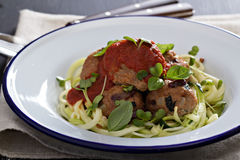 Turkey meatballs with zucchini noodles Stock Photo