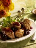 Turkey Medallions with cranberry sauce Stock Photos
