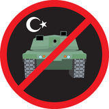 Turkey military coup. Tank against the background sign ban Stock Photos