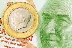 Turkey Money Concept. 1 Turkish Lira coin on banknote money background Stock Photo