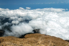 Turkey. Mount Tahtali. Cableway goes into the clouds. Turkey, mountain Tahtali. View of cableway, walking under the clouds Royalty Free Stock Photos