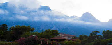 Turkey mountains kemer. Mediterranean sea and mountains in turki Royalty Free Stock Photos