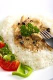 Turkey in mushroom cream sauce Stock Photography