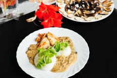 Turkey with mushroom sauce and rice Royalty Free Stock Images