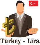 Turkey national currency symbol lira representing money and Flag Royalty Free Stock Photos