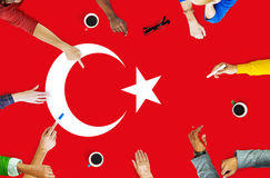 Turkey National Flag Business Team Meeting Concept.  royalty free stock image