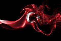 Turkey national smoke flag. National smoke flag of Turkey isolated on black background royalty free stock photo
