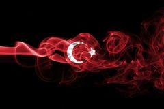 Turkey national smoke flag. National smoke flag of Turkey isolated on black background stock photography