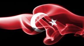 Turkey national smoke flag. National smoke flag of Turkey isolated on black background stock photo