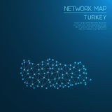 Turkey network map. Abstract polygonal map design. Internet connections vector illustration Royalty Free Stock Photography