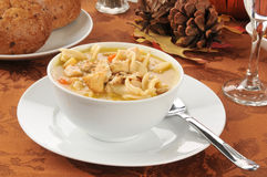 Turkey noodle soup Stock Photography
