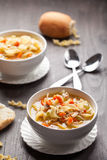 Turkey Noodle Soup hot rolls Stock Photography