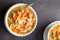 Turkey Noodle Soup top view macro shot Royalty Free Stock Photos