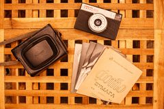 Vintage cameras from the times of the USSR on the wooden table 7 royalty free stock photo