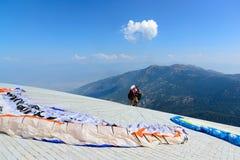 Turkey, Oludeniz, Babadag Mountain, July 30, 2018, paragliding flights royalty free stock photo