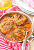 Turkey ossobuco in tomato gravy with mushrooms Royalty Free Stock Photos