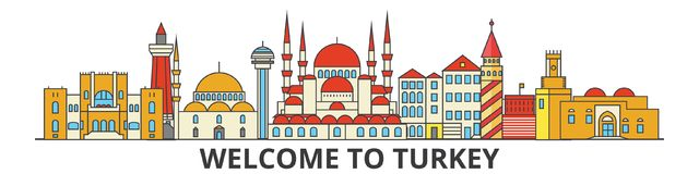 Turkey outline skyline, turkish flat thin line icons, landmarks, illustrations. Turkey cityscape, turkish travel city Royalty Free Stock Image