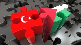 Turkey and Palestine flags on puzzle pieces. Political relationship concept. 3D rendering Stock Photos