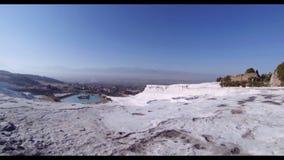 Turkey. Pamukkale. Hot spring on the mountain stock footage