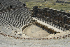 Turkey_pamukkale_theater. Amphitheater in Hierapolis in Pamukkale Turkey Royalty Free Stock Image