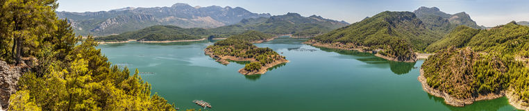 Turkey . Panorama . Huge deep lake in the mountains . Royalty Free Stock Images
