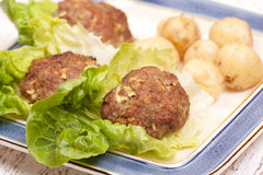 Turkey patties with new patatoes Stock Images