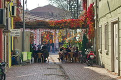 Cobbled pedestrian street in Turkey royalty free stock photos