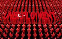 Turkey people with unemployment text Royalty Free Stock Images