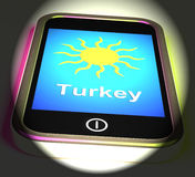 Turkey On Phone Displays Holidays And Sunny Weather Royalty Free Stock Image