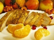 Turkey pieces of Thanksgiving day maple leaf organic  , still life, dish, menu, mandrake, Royalty Free Stock Images