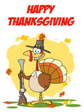 Turkey with pilgrim hat and musket. Happy thanksgiving greeting with turkey with pilgrim hat and musket Stock Photography
