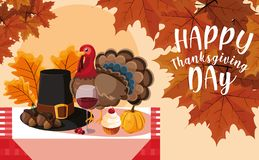 Turkey with pilgrim hat and set icons in table vector illustration