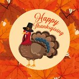 Turkey with pilgrim hat of thanksgiving day royalty free illustration