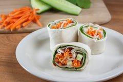 Turkey Pinwheel Wraps. Turkey, carrot, spinach, and cucumber pinwheel wraps Royalty Free Stock Photography