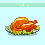 Turkey On A Plate Vector Stock Photography