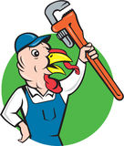 Turkey Plumber Monkey Wrench Circle Cartoon Royalty Free Stock Photos