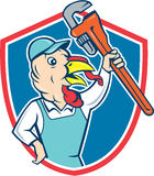 Turkey Plumber Monkey Wrench Shield Cartoon Royalty Free Stock Image