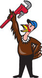 Turkey Plumber Raising Wrench Standing Cartoon Royalty Free Stock Photography