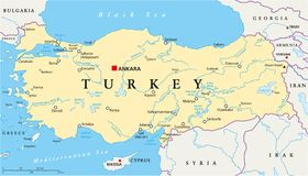 Turkey Political Map Royalty Free Stock Image