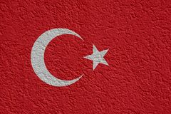 Turkey Politics Or Business Concept: Turkish Flag Wall With Plaster, Texture. Turkey Politics Or Business Concept: Turkish Flag Wall With Plaster, Background stock photography