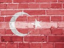 Turkey Politics Concept: Turkish Flag Wall. Background Texture stock image